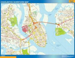 Usa Wall Map by Charleston Downtown Map Netmaps Usa Wall Maps Shop Online