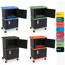 multimedia cart with locking cabinet h wilson mobile tuffy cart with two lockable cabinets various