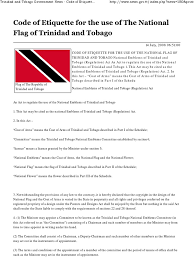 Flag Etiquette Code Of Etiquette For The Use Of The National Flag Of Trinidad And