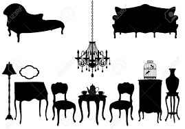 Living Room Clipart Black And White Living Room With Antique Furniture Vector Background Royalty Free