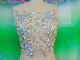 handmade clear ab colour crystal patches sew on rhinestones