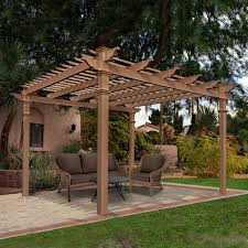 Pergola Backyard Ideas Garden U0026 Outdoor Wooden Pergola Plans With Tan Sofa Set On