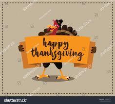 Free Happy Thanksgiving Image Happy Thanksgiving Cartoon Turkey Holding Banner Stock Vector