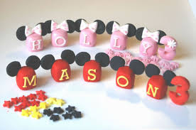 edible letters personalise name blocks disney mickey mouse cake