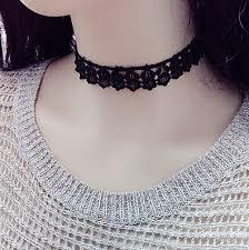 black neck choker necklace images 2016 gothic black lace flowers choker necklaces punk short jpg