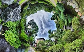 House Lens Nature Landscape Trees Clouds Panoramic Sphere Fisheye Lens
