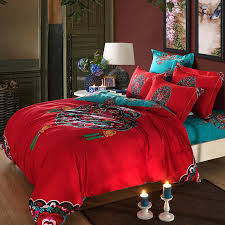 red turquoise oriental chinese traditional pattern bedding set