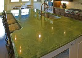 alluring contemporary kitchen with green granite table top and