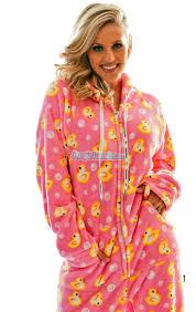fuzzy pink ducks hooded footed pajamas pajamas footie pjs
