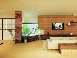 winsome fish tank in living room and good floor design