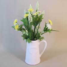 Fake Flower Centerpieces Artificial Flower Arrangement Purple Spring Flowers In White Jug