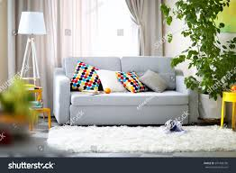living room interior sofa lamp green stock photo 391428730