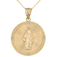 necklace gold jesus images Solid yellow gold mary mother of jesus circle medallion diamond jpg