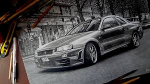 nissan skyline r34 realistic drawing isp 2014 youtube