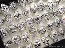wholesale rings com images Skull skeleton gothic biker rings men 39 s rock punk ring party favor jpg
