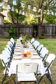 fascinating backyard party decorations mixed with round tables in