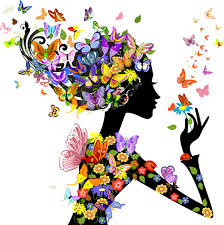 set of floral season girls vector graphic 02 vector people free
