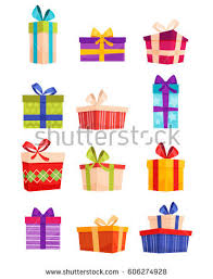 boxes with bows set colorful gift boxes bows ribbons stock vector 606274928