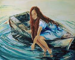 Painting Boat Interior A With Paper Boats 50x70 Cm 2017 Original Painting Oil On