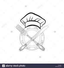 symbole cuisine chef cuisine hat avec fourchette et couteau dessin croquis label