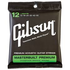 Light Guitar Strings by Gibson Masterbuilt Premium Phosphor Bronze 012 053 Acoustic