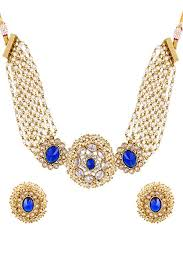 gold plated necklace set images Blue stone work gold plated necklace set jpeg
