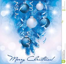 merry banner with blue silver balls stock vector image