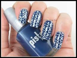 blue and white nail art lazy betty