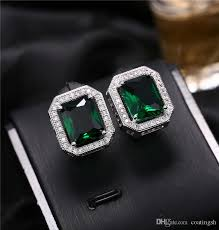 large stud earrings 2017 brilliant cut large cz square stud earrings emerald green in