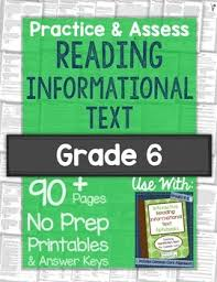 reading informational text printables worksheets and tests grade 6