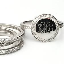 monogrammed silver ring monogram stacking ring personalized monogrammed sterling