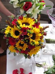 Sunflower Bouquets Sunflower Wedding Bouquets With Blue Sunflower And Muscari