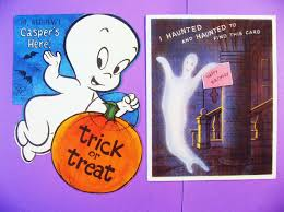 cute happy halloween sign 2 vintage halloween cards cute ghosts casper haunted house
