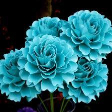 teal flowers the bloom dahlia handmade paper flower set of 5 flowers