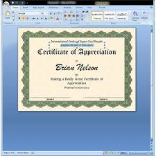 Award Certificates Templates Office 2007 certificate of appreciation template in word