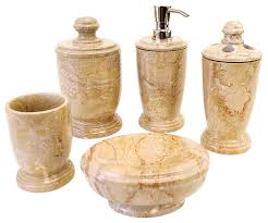 Bathroom Collections Sets Sahara Beige Marble 5 Piece Bathroom Accessory Set Of Atlantic
