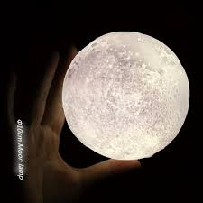 night light 3d moon lamp touch dimmable warm cool brightness