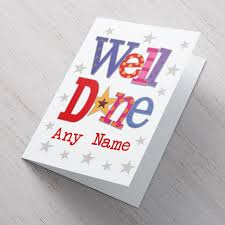 personalised card colourful well done from 99p