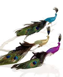 holiday lane set of 3 feather peacock ornaments holiday lane