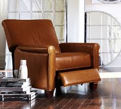 Brown Leather Recliner Quick Ship Irving Leather Recliner Pottery Barn