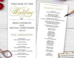 church wedding program template gold wedding program etsy