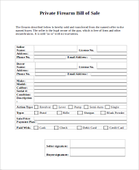 firearm bill of sale sample 8 examples in pdf word