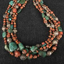 real turquoise necklace images Antique tibetan coral necklace jewelry mahakala fine arts JPG