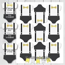 little man baby shower onesie tags gold charcoal suspenders
