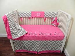 Pink Chevron Crib Bedding Custom Bumperless Crib Bedding Teething Rail By Babybedding On