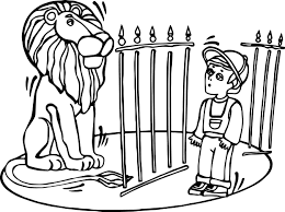 zoo lion and child coloring page wecoloringpage