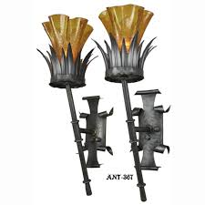 Torch Wall Sconce Antique Pair Gothic Torch Style Wall Sconce Lights Circa 1920