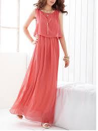 chiffon maxi dress summer neck plain chiffon maxi dress fashionmia