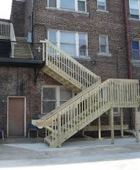 outdoor stairs fire escape staircase wooden exterior stairs
