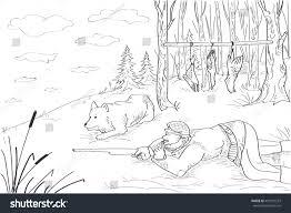 hunting hunter ducks grass gun dog stock vector 453301537